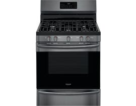 "Frigidaire 30"" 5.0 cu. ft. Rear Control Gas Range with Air Fry in Black Stainless Steel GCRG3060AD"
