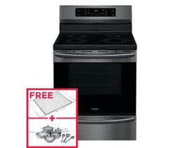"""Frigidaire 30"""" 5.4 cu. ft. Electric Range with Air Fry in Black Stainless Steel GCRI305CAD"""