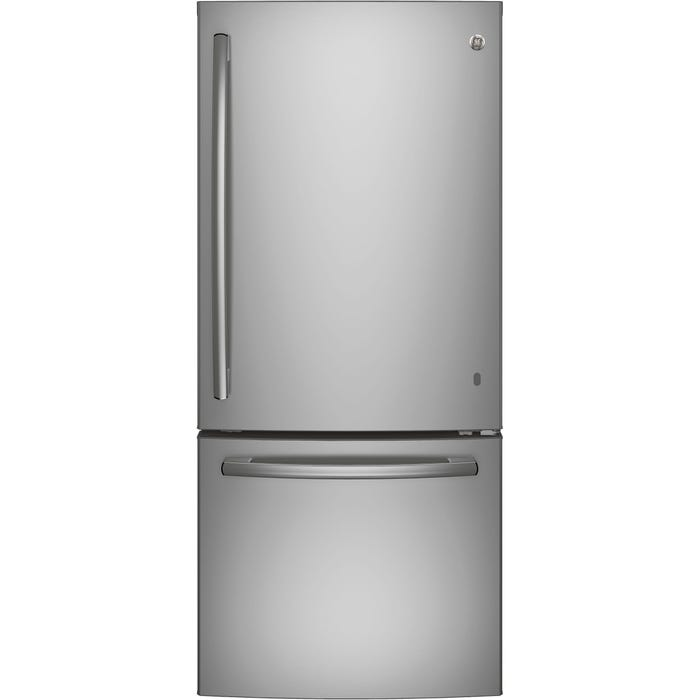 GE 30 inch 20.9 cu.ft. Bottom Mount Refrigerator with Ice Maker in stainless steel GDE21ESKSS