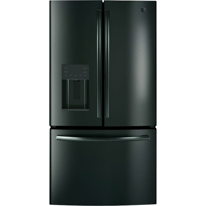 GE 36 inch 25.5 Cu.Ft. Bottom Mount French Door Refrigerator in Black Stainless Steel GFE26JBMTS