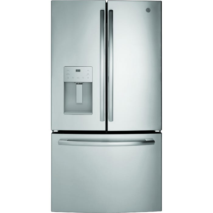 GE 36 inch 25.5 cu.ft. Bottom mount French door refrigerator in stainless steel GFE26JSMSS