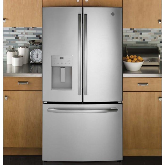 GE 36 inch 25.5 Cu.Ft. Bottom Mount French Door Refrigerator GFE26JSMSS