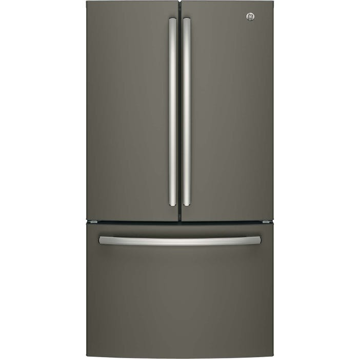 GE 36 inch 26.7 cu.ft. Bottom Mount French Door Refrigerator in stainless steel GNE27JMMES