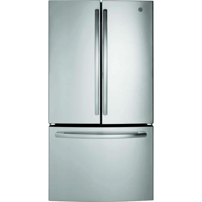 GE 36 inch 26.7 cu.ft. Bottom Mount French Door Refrigerator in stainless steel GNE27ESMSS
