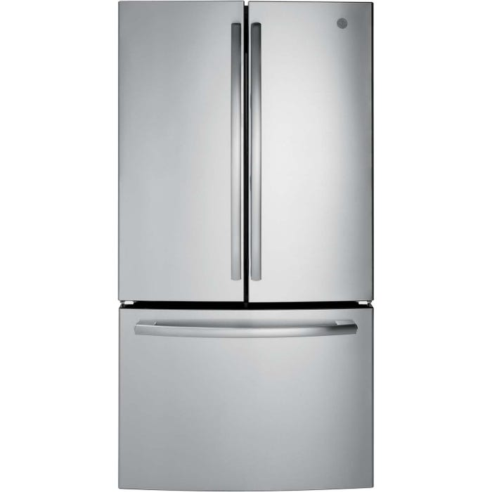 GE 36 inch 27.0 cu.ft. Bottom Mount French Door Refrigerator in stainless steel GNE27JSMSS