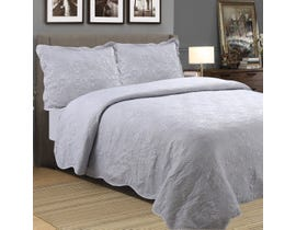 Millano Embossed Stone Wash Grey 3pc Quilt Set VE-SESW-GREY-Q03
