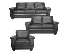 SBF Upholstery Zurick Collection 3Pc Leather Sofa Set in Grey 4395