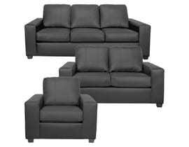 A-Class 3Pc Leather Sofa Set in Grey 1290