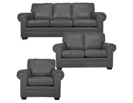 SBF Upholstery Leather Match 3-Piece Sofa Set in Grey 7557