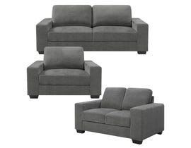 Charlestown Collection 3-Piece Fabric Sofa Set in Grey J0993