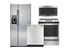 GE & GE Profile 3pc Appliance Package in Stainless Steel GSS23GSKSS JCS830SMSS GBT632SSMSS