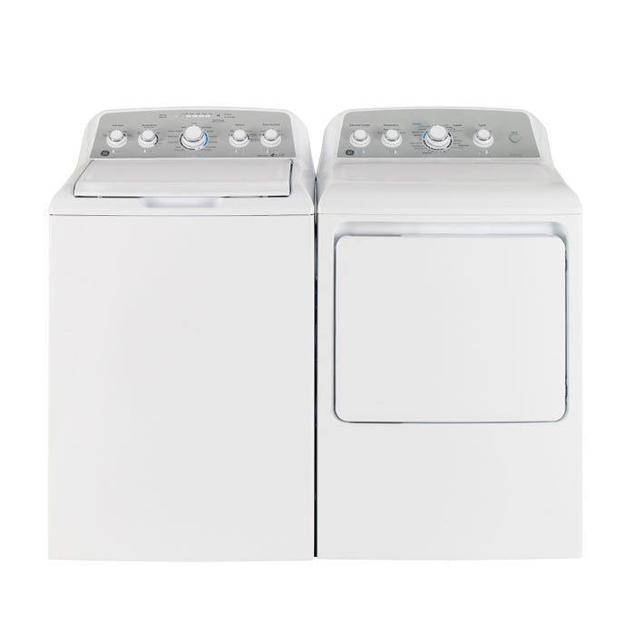 GE top load laundry pair GTW485BMMWS-GTD45EBMKWS in white