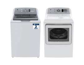 GE Laundry Pair 5.3 cu. ft. Washer GTW680BMMWS & 7.4 cu. ft. Electric Dryer in White GTD65EBMKWS
