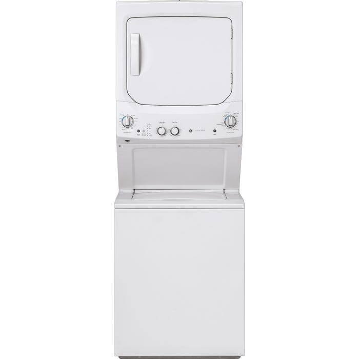 GE 27 inch Electric Unitized Spacemaker Washer and Electric Dryer GUD27ESMMWW white