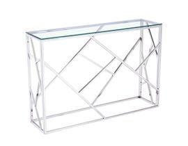 Geo Collection Metal Console Table in Silver 2051214