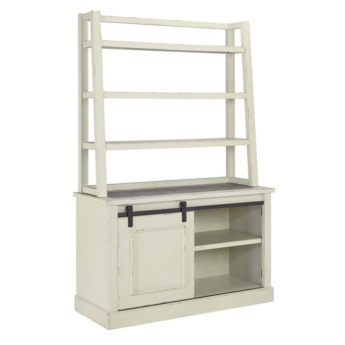 Signature Design by Ashley Jonileene Series Home Office Cabinet and tall Desk Hutch White/Grey Finish H642-40-49