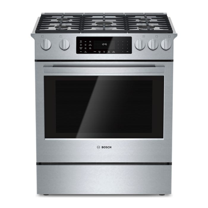Bosch 30 inch 4.6 Cu. Ft. Self Clean Convection Dual Gas/Electric Range in Stainless Steel HDI8054C