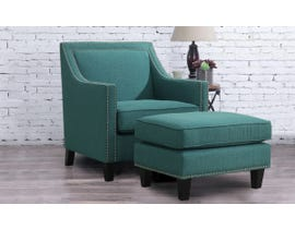 High Society Erica Series Solid-colour Chair w/Ottoman in Teal 130985