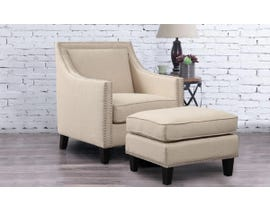 High Society Erica Series Solid-colour Chair w/Ottoman in Natural 130983