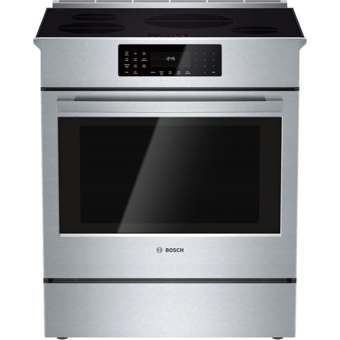 Bosch 30 inch 4.6 Cu. Ft. Self-Clean Slide-In Smooth Top Induction Range in Stainless Steel HII8055C
