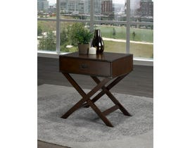 Brassex Soho Collection Cross Base Wood Accent Table on Espresso 171010