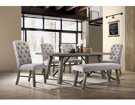 Hommax Ascot Series 6pc Dining Set with Bench in Wirebrush Grey HM4280