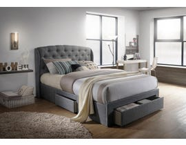Hommax Emma Series Upholstered Storage Bed in Grey Linen HM1017