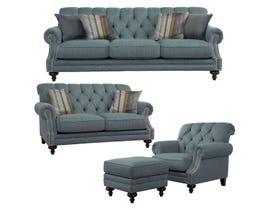 Décor-Rest Fabric 3Pc Sofa Set in Hot Slate/Tayso Sky 2133