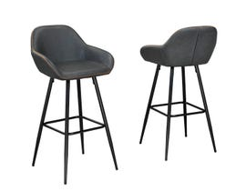 "Brassex Fresno Collection 26"" metal bar stool (set of 2) in vintage grey HY-7420"