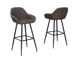 "Brassex Fresno Collection 29"" metal bar stool (set of 2) in vintage brown HY-7420"