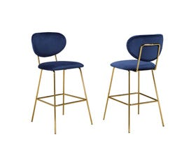 Brassex Harman Counter Stool (Set of 2) in Blue HY-9659-T1-26-NV