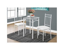 Monarch 3-piece dining set white metal with tempered glass I1001