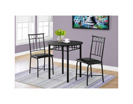 Monarch 3pc Metal Dining Set in Black I1013