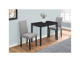 Monarch 3pc Dining Set with Linen Parson Chairs in Grey I1016