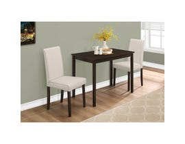 Monarch 3-piece dining set cappuccino linen chairs I1017