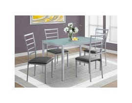 Monarch 5-piece dining set silver with frosted tempered glass I1026
