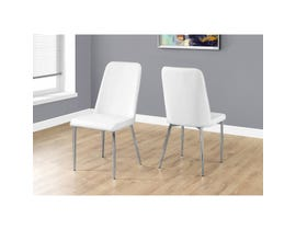 Monarch 2-piece dining chair white leather look with chrome I1033