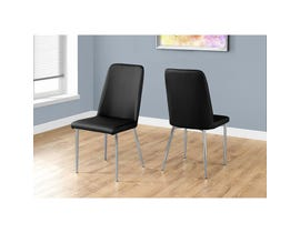 Monarch 2-piece Dining Chair black leather look with chrome I1034