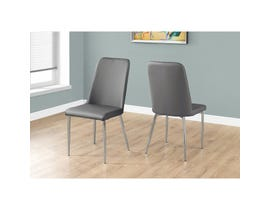 Monarch 2-pieces dining chair grey leather look with chrome I1035