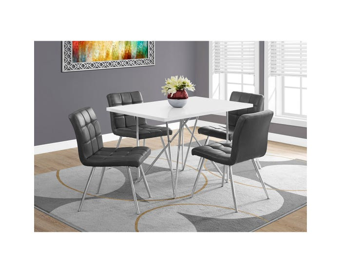 hot sale online e2499 68ef2 Monarch dining table white with chrome metal I1038 (Table Only)