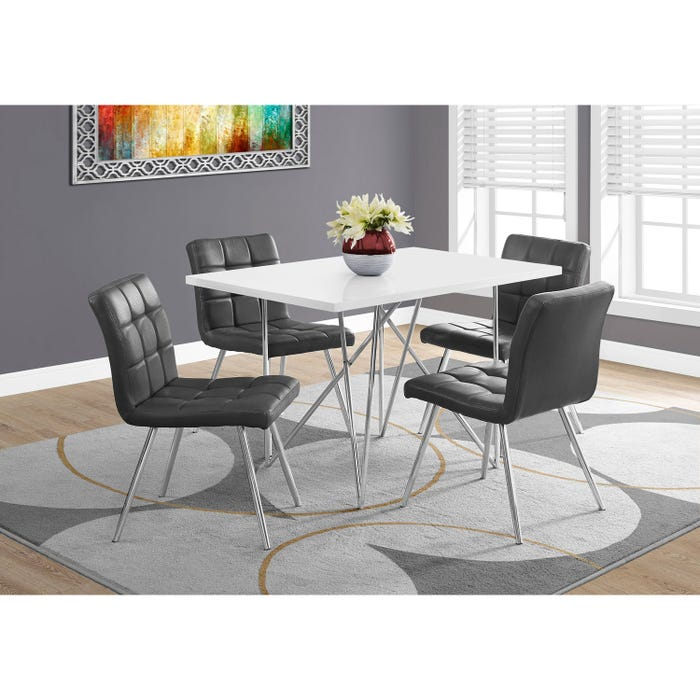 Monarch dining room set white table with grey dining chair I1038_Set