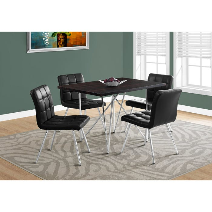 Monarch dining table cappuccino with chrome metal I1039