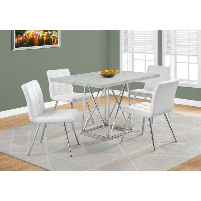 Monarch dining table in cement grey with chrome metal I1043