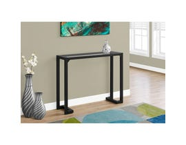 "MONARCH Accent Table- 42""L / BLACK / TEMPERED GLASS HALL CONSOLE"