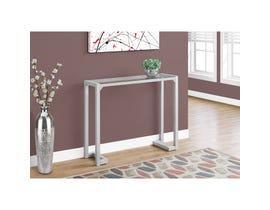 "MONARCH Accent Table- 42""L / SILVER /TEMPERED GLASS HALL CONSOLE"