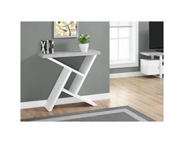 """MONARCH Accent Table- 36""""L / WHITE / CEMENT-LOOK HALL CONSOLE I2405"""