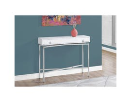 "MONARCH Accent Table- 42""L / GLOSSY WHITE / CHROME HALL CONSOLE"
