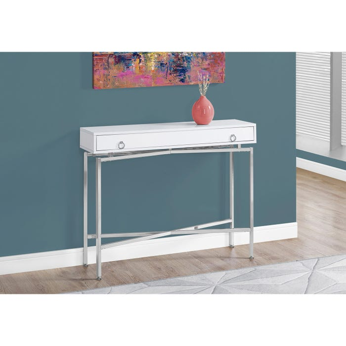 Fabulous Monarch Accent Table 42L Glossy White Chrome Hall Console Interior Design Ideas Inesswwsoteloinfo