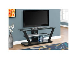 "MONARCH TV Stand - 48""L / BLACK METAL WITH TEMPERED GLASS"