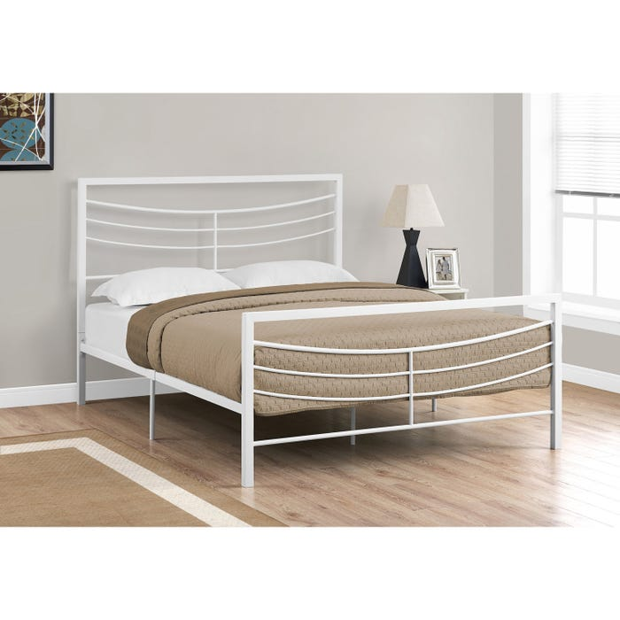 Queen Bed.Monarch Bed Queen Size White Metal Frame Only